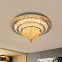Cut Crystal Chrome Flushmount Layered Circular LED Traditional Ceiling Flush Mount Light, 23.5
