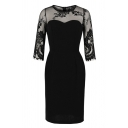 Sexy Black Floral Embroidered See-Through Mesh Patched Half Sleeves Round Neck Midi Sheath Dress for Ladies