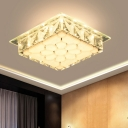 Contemporary Square Ceiling Flush Clear Crystal LED Flush Mount Light with Flower Design