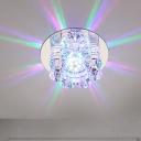 Translucent Crystal Blossom Flushmount Modern LED Porch Flush Light in Warm/White/Multi Color Light