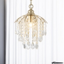Gold Waterfall Suspension Lamp Vintage Crystal Strand 1 Bulb Dining Table Pendant Ceiling Light