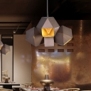 3-Head Restaurant Chandelier Pendant Light Modern Coffee Hanging Lamp with Polyhedron Aluminum Shade