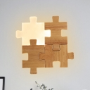 Jigsaw Puzzle Shape Flush Wall Sconce Nordic Wood LED Beige Wall Mounted Light in White/Warm Light
