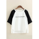 Novelty Basic Girls Raglan Three-Quarter Sleeve Round Neck Letter Embroidery Colorblock Slit High Low Loose Tee in White