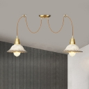 Scalloped Ceramics Multiple Hanging Light Traditional 2/4/6 Bulbs Dining Room Swag Suspension Lamp in Gold