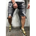 Guys Trendy Mid Waist Cartoon Pattern Panel Ripped Raw Edge Bleach Relaxed Fit Denim Shorts