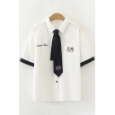 Basic Womens Short Sleeve Lapel Neck Letter Dog Embroidered Contrasted Tie Button Up Regular Fit White Shirt