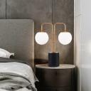 Globe White Glass Desk Lighting Modernist 2 Bulbs Gold Night Table Lamp with Cylinder Black Marble Base
