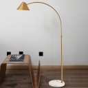 Gold Finish Conical Floor Stand Lamp Postmodern 1-Light Metallic Arched Standing Light