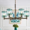 6 Lights Dining Room Pendant Chandelier Post-Modern Grey Hanging Lamp Kit with Cylinder Gradient Blue Glass Shade