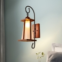 Country Tapered Wall Sconce 1 Light Cream Glass Wall Lighting Ideas in Brown with Wood Square Frame