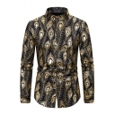 Cool Hot Boys Long Sleeve Stand Collar Button Down Hot Stamping All Over Feather Pattern Fit Shirt