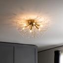 Dandelion Flush Mount Lighting Contemporary Metal 3/4/6 Heads Brass LED Flush Ceiling Lamp for Bedroom