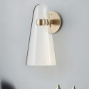 Clear Glass Conical Wall Light Sconce Post Modernist 1-Light Gold Finish LED Wall Mounted Lamp
