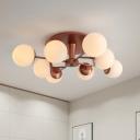 Contemporary Sphere Semi Flush Mount Light Opal Glass 8 Heads Living Room Flush Lamp in Silver/Rose God