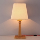 Trapezoid Fabric Night Table Light Modern 1-Bulb Wood Reading Book Lamp for Study Room
