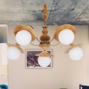 Flared Restaurant Hanging Chandelier Wood 5 Heads Modernism Pendant Lighting with Orb Cream Glass Shade