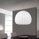 Single Art Silk Hanging Lamp Minimalist White Dome Dining Room Pendant Ceiling Light