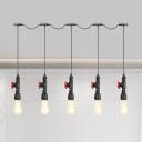 Iron Bare Bulb Multiple Hanging Light Vintage 5/7-Light Restaurant Tandem Ceiling Pendant Lamp in Black
