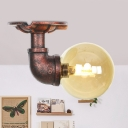 Copper 1-Light Semi Flush Mount Light Industrial Amber Glass Ball LED Ceiling Lamp Fixture