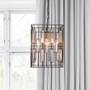 Brass 1-Light Hanging Lamp Loft Style Metal Cuboid Cage Pendant Lighting with Embedded K9 Crystal Rod