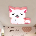 Pink/Yellow Cat Shaped Flush Ceiling Light Fixture Cartoon Acrylic LED Flush Mount Lamp for Nursery in Warm/White Light