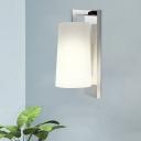 Minimalist Horn Shade Wall Lamp 1-Light Fabric Wall Sconce Light in Chrome for Bathroom