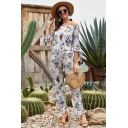 Popular Fashionable Womens Bow Tie Half Sleeve Off the Shoulder All Over Floral Printed Drawstring Waist Long Straight Apricot Rompe