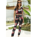 Stylish Womens Short Sleeve Cold Shoulder All Over Flower Print Contrasted Fit Crop Tee & Ankle Fitted Pants Set