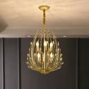 Gold Lotus-Like Chandelier Modernist K9 Crystal 6 Lights Dining Hall Ceiling Pendant Lamp