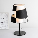 Designer Cutouts Conical Table Lamp Fabric Single Sitting Room Night Stand Light in Black and White