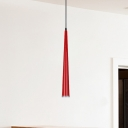 Tapered Restaurant Suspension Lamp Metal 1 Light Modernist Ceiling Hang Fixture in Grey/White/Red