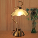 Frosted White Glass Ruffle Table Light Traditional 1 Head Family Room Nightstand Lamp with Brass Curving Arm