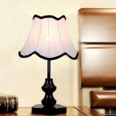 1-Light Scalloped Flare Table Lamp Transitional White Fabric Night Lighting with Trim in Black