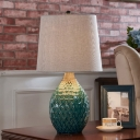1 Head Nightstand Light Vintage Honeycomb Vase Ceramic Table Lamp in Silver Grey/Beige with Fabric Shade