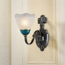Flower Latticed Glass Up Sconce Traditional 1/2-Light Indoor Wall Light Fixture in Black and Blue
