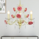 Beige 3-Light Chandelier Lighting Farmhouse Korean Metal Candle Hanging Ceiling Lamp with Rose Decor