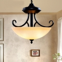 Frosted Glass Black Pendant Lamp Wide Bowl 3 Heads Vintage Chandelier Light with Scroll Fixture Arm