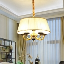 5 Lights Ceiling Chandelier Vintage Style Drum Fabric Pendulum Lamp in White for Living Room