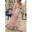 Pretty Womens White Long Sleeve Deep V-Neck All Over Flower Print Ruffled Trim Maxi Flowy Boho Dress