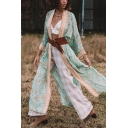 Boho Womens Ethnic Long Sleeve Open Front All Over Floral Print Bow Tie Waist Slit Side Longline Sun-Protection Cardigan in Green