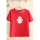 Fashionable Girls Short Sleeve Round Neck Cartoon Pattern Sheer Mesh Patched Relaxed T-Shirt