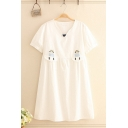 Casual Summer White Short Sleeve V-Neck Cat Embroidery Patched Mid Pleated Swing Dress for Women
