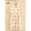 Fashionable Womens Short Sleeve Lapel Collar Button Up All Over Elk Printed Bow Tie Waist Midi Pleated Swing Shirt Dress