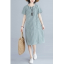 Retro Stylish Womens Short Sleeve Round Neck Stripe Print Panel Pocket Side Linen and Cotton Mid Swing Dress