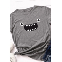 Cute Popular Womens Roll Up Sleeve Round Neck Cartoon Face Pattern Loose Fit T Shirt