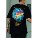 Streetwear Mens Short Sleeve Crew Neck Letter SIMONK Print Oversize T Shirt