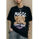 Fashionable Mens Short Sleeve Crew Neck Letter MAGIC Bear Graphic Loose Fit T Shirt