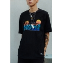 Guys Hip Hop Colorful Letter Los Angeles Surfers Sunrise Graphic Label Short Sleeve Crew Neck Loose T Shirt