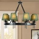 Green 8 Heads Chandelier Lamp Fixture Farmhouse Fabric Barrel Ceiling Pendant Light with Loop Design